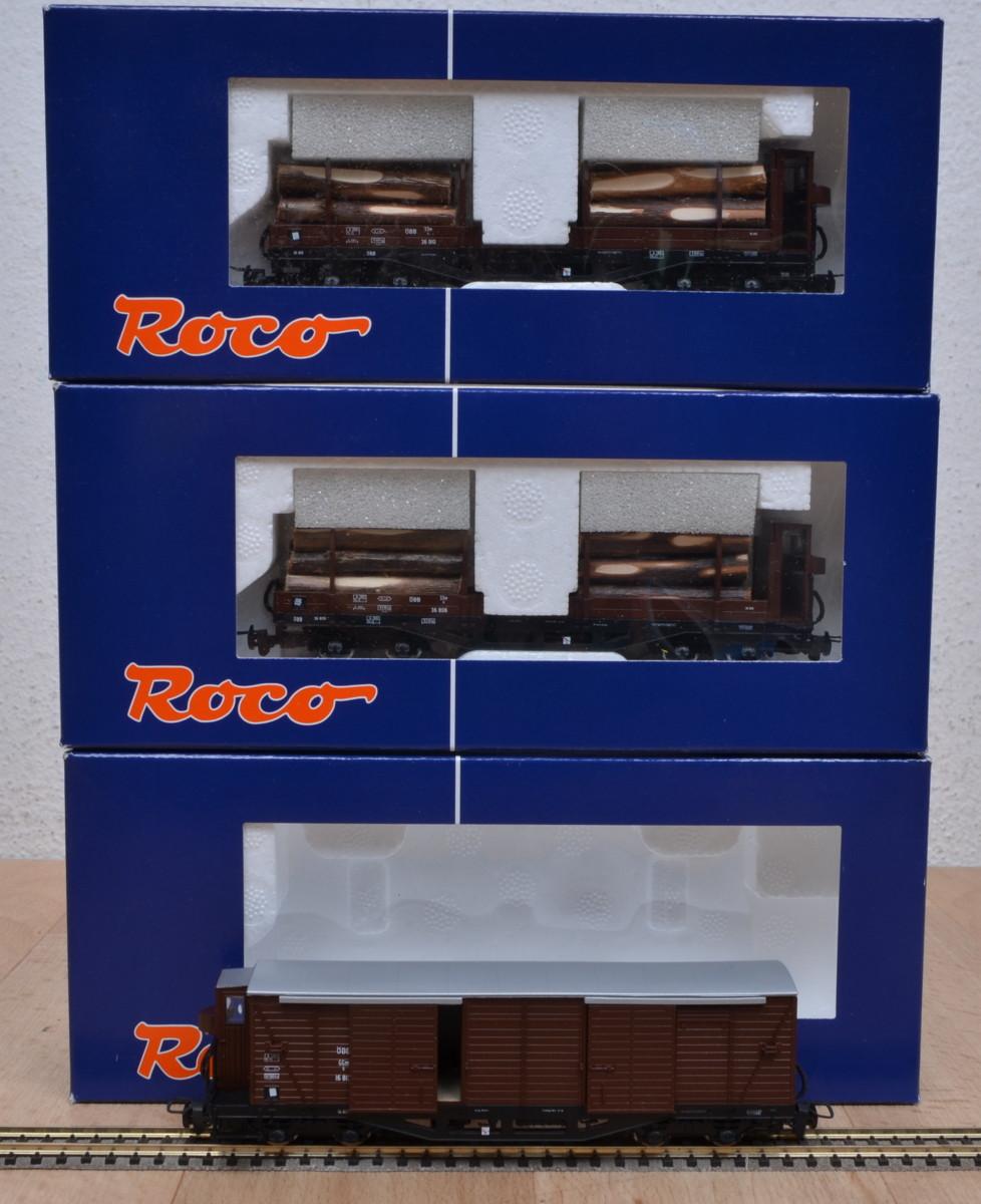 3 stk roco gedeckte g terwagen ggm rungenwagen ssm der. Black Bedroom Furniture Sets. Home Design Ideas